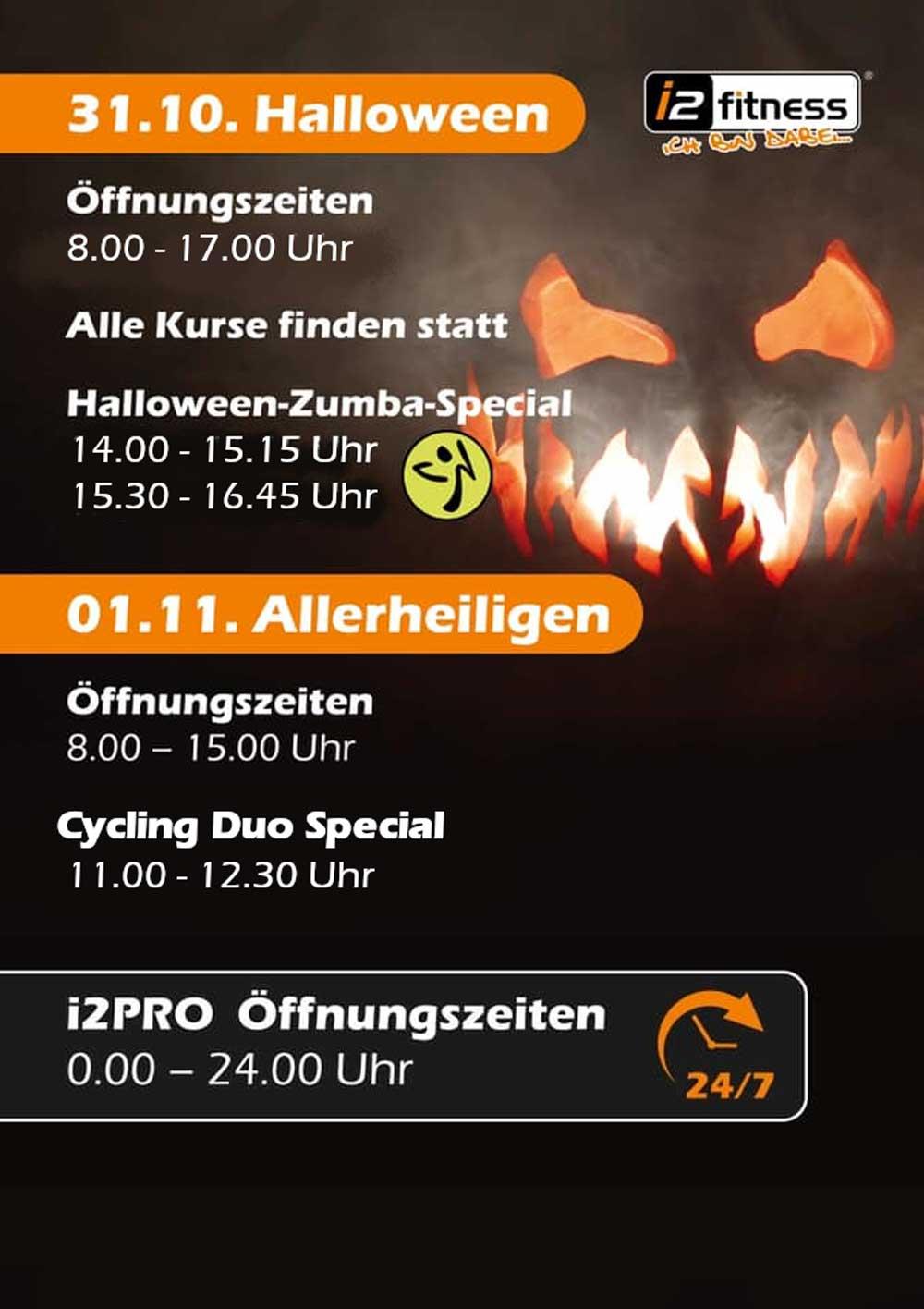 Unsere Öffnungszeiten<br> an Halloween & Allerheiligen