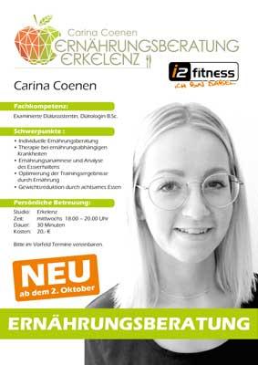 Ernährungsberatung ab dem<br>  02.10. mit Carina Coenen