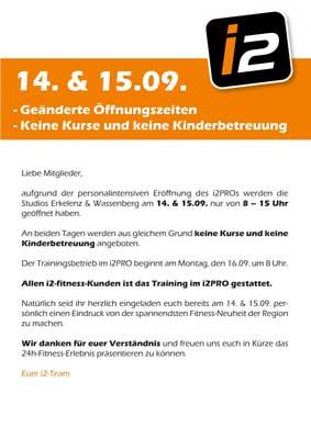 Geänderte Öffnungszeiten  <br> am 14. & 15. September.
