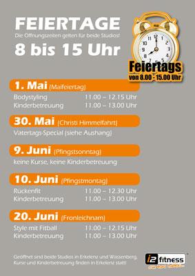 Unsere Öffnungszeiten an<br>  den Feiertagen im Mai/Juni.